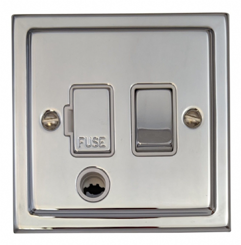 G&H TC256 Trimline Plate Polished Chrome 1 Gang Fused Spur 13A Switched & Flex Outlet